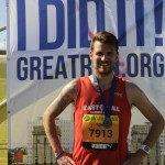 Tony Cross at the end of the Great North Run