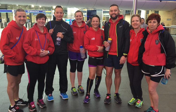 Just some of the EHH gang on their way to the London Marathon 2016